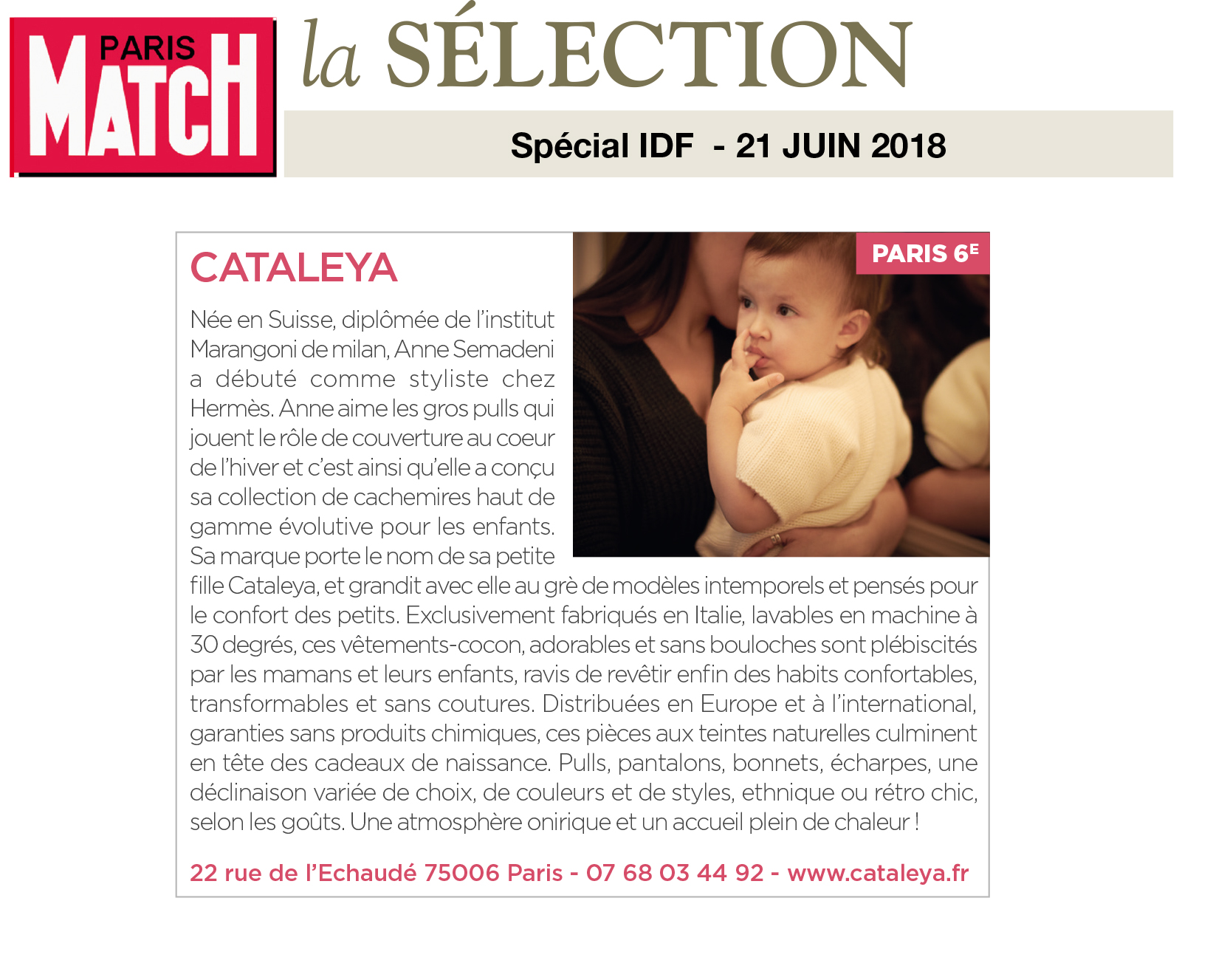 Paris Match - Cataleya sélectionné pour adresse à suivre à Paris